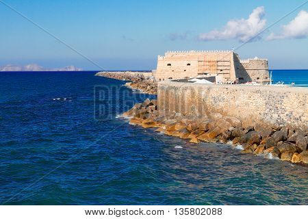 Heraklion bay with old venetian fort, Crete, Greece