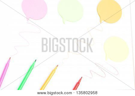 Markers And Sticker On A White Background