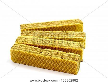 dessert butter waffles isolated on white background