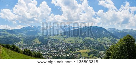 Wide angle view of the french village of Megeve and surroundings.