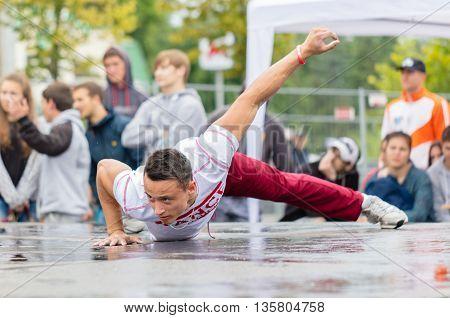 Kharkiv Ukraine - June 11 2016: Guy performs a trick