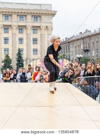 KHARKOV UKRAINE - JUNE 11 2016: Aggressive rollerblading competition