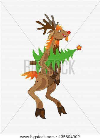 The brown deer bears a Christmas fir-tree in hoofs