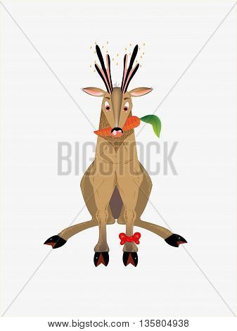 The brown deer eats carrot.  Illustration. vector.