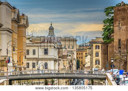 Modern and traditional architecture in eternal city center in Rome, Italy Europe.