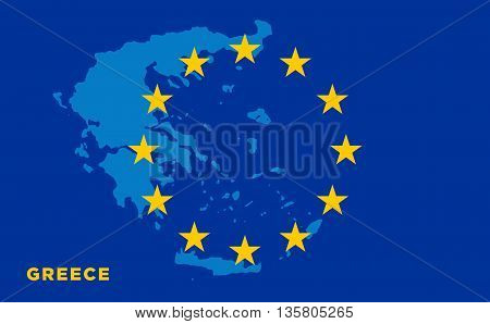Flag of European Union with Greece on background. Vector EU flag