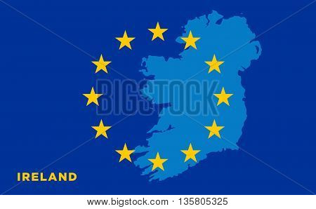 Flag of European Union with Ireland on background. Vector EU flag