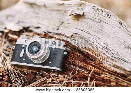 35mm Vintage Old Retro Small-Format Rangefinder Camera On Old Fallen Wood Tree In Forest.