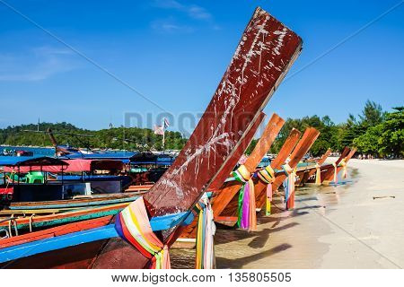 Long Tail Boat On Sand Beach Andaman Sea