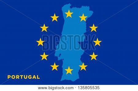 Flag of European Union with Portugal on background. Vector EU flag
