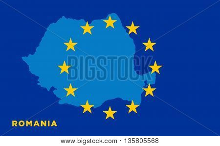 Flag of European Union with Romania on background. Vector EU flag