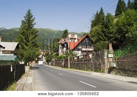 Sinaia, ROMANIA - June 18 2016: Empty street in Sinaia mountain resort from Romania. SINAIA - June 18 2016