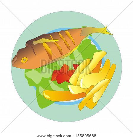 Illustration mediterranean grilled fish and chips with fresh vegetables
