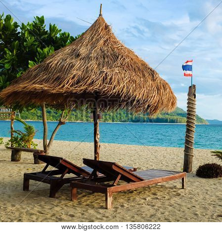 Best Place For Recreation Of Sun Umbrellas And Wooden Beds On Tropical Beach.