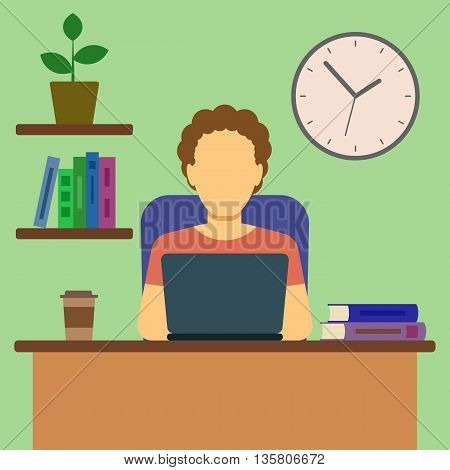 Man Working At Home Concept. Flat Design. Vector Illustration