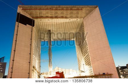 Puteaux city France-June 23 2016 : The Grand Arch de la Defense is a monument and building in the business district of La Defenseand in the commune of Puteaux city to the West of Paris France.