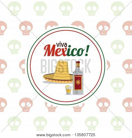 Mexico culture represented by tequila bottle shot and hat icon. Colorfull and flat background