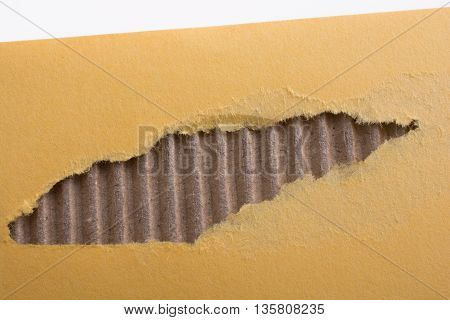 Torn Yellow Paper on a white background