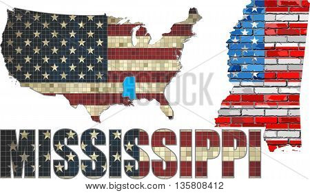 USA state of Mississippi on a brick wall - Illustration, Mississippi Flag painted on brick wall, Font with the United States flag,  Mississippi map on a brick wall