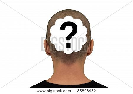 Nape of the neck of a man with question mark