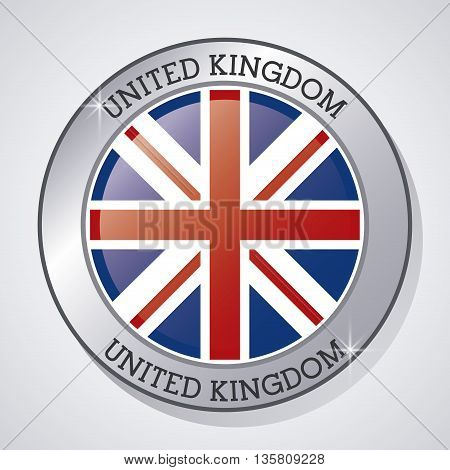 United kingdom concept represented by button of flag icon. Colorfull and flat illustration
