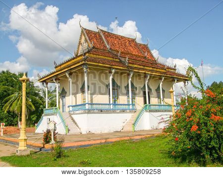 ornamented building around Koh Trong a island at Mekong river in Cambodia
