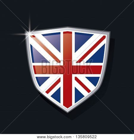 United kingdom concept represented by shield of flag icon. Colorfull and flat illustration