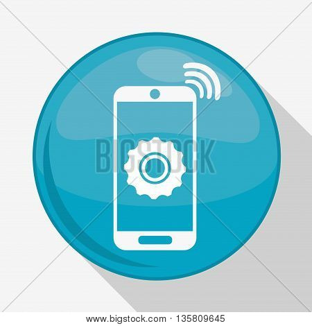 Internet of things represented by smartphone and gear over button. isolated and flat background