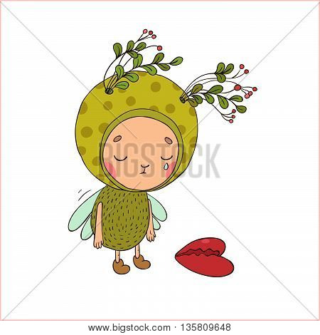 Forest Fairy and heart. Hand drawing isolated objects on white background. Vector illustration.