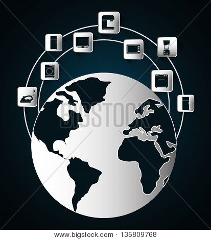 Internet of things represented by icon set of appliances and planet. blue and flat background