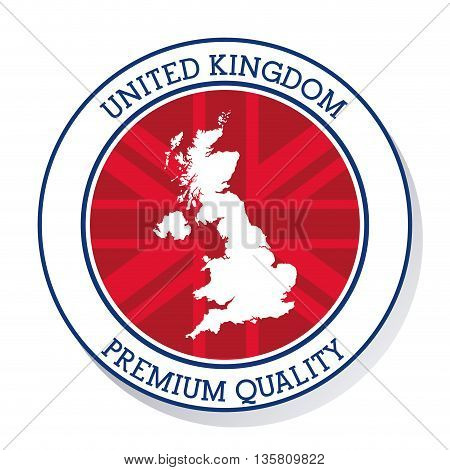 United kingdom concept represented by map inside button icon. Colorfull and flat illustration