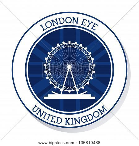 United kingdom concept represented by london eye icon. Colorfull and flat illustration