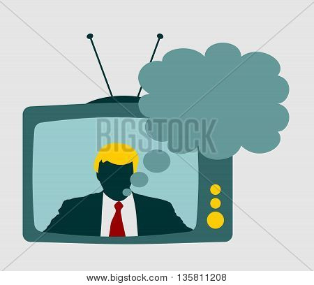 Television set broadcasting the news with an reporter and bubble speech. Vector flat design illustration.