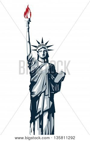 simple flat design full body blue scale statue of liberty vector illustration