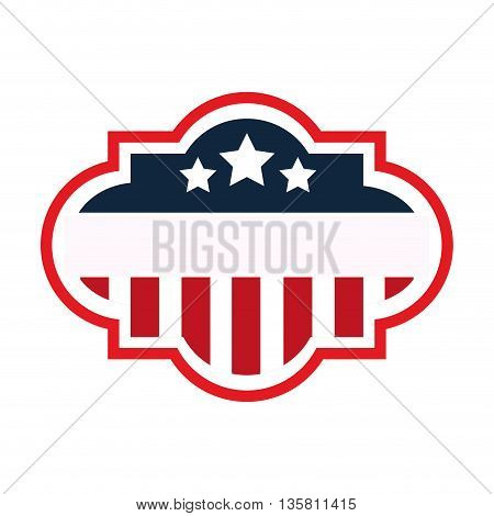 flat design united states flag badge vector illustration