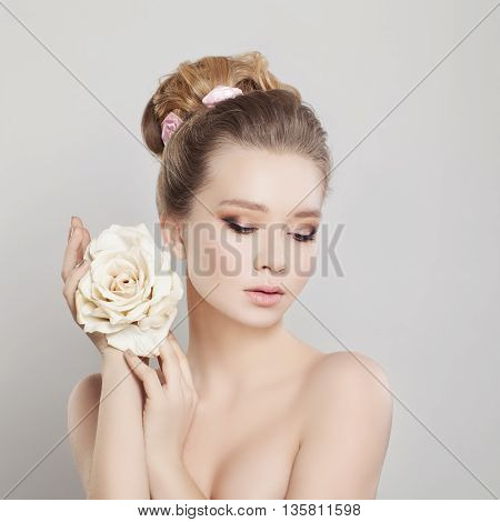 Spa Portrait of Beautiful Woman with Blonde Hair and Healthy Skin