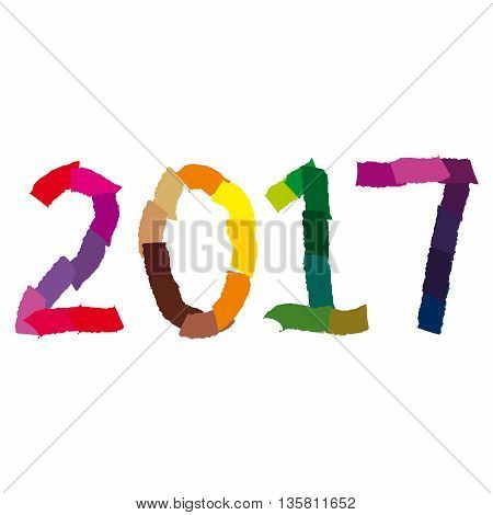 New Year numerals in a torn paper style on an isolated white background