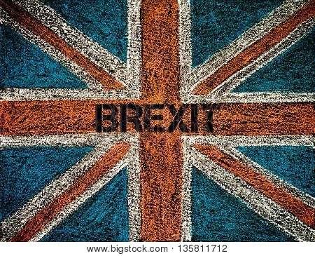 United Kingdom (British Union jack) flag hand drawing with chalk on blackboard BREXIT concept
