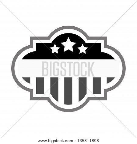 black and grey flat design united states flag badge vector illustration