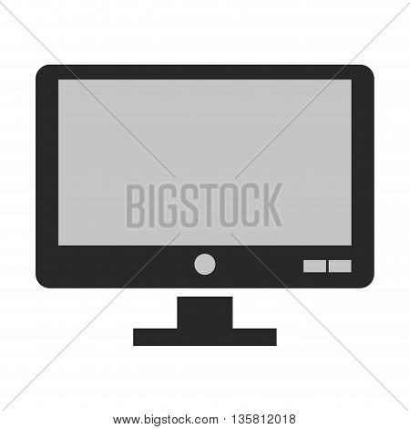 black and grey flat design of computer monitor icon vector illustration