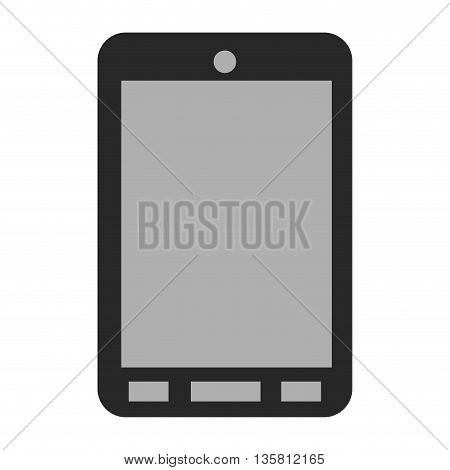 black and grey flat design cellphone with buttons vector illustration