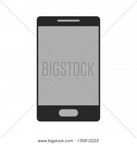 black and grey flat design cellphone with button vector illustration