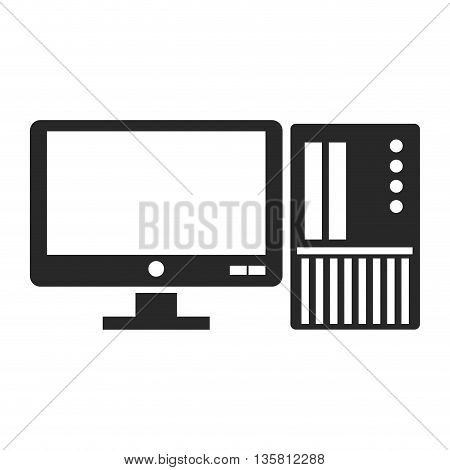flat design of computer with sd card icon vector illustration