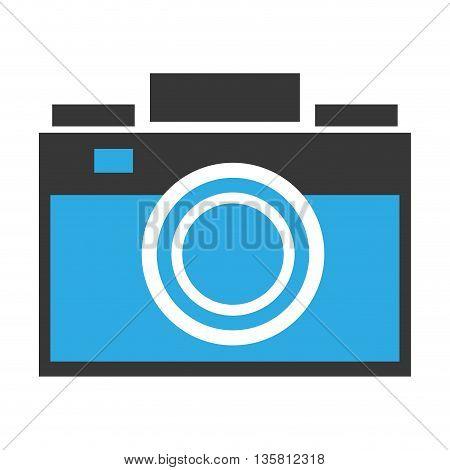 blue and grey flat design photographic camera vector illustration