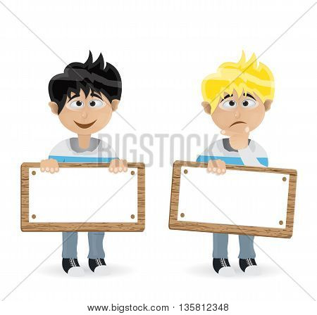 man character holding text board where you can put yout text