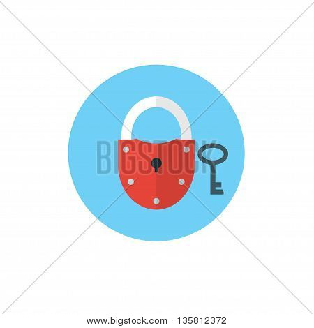 Lock with Key Icon -flat vector illustration. Security and privacy concept.