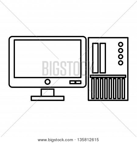simple black line computer with sd card icon vector illustration