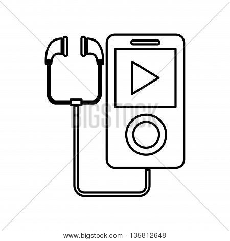 simple black line portable music device with earphones vector illustration