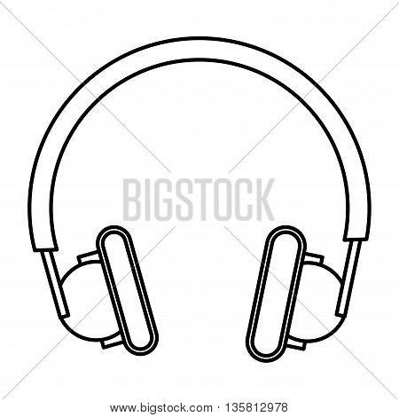 simple black line headphones icon vector illustration