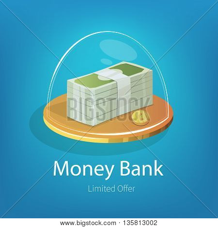 Vector illustration with stack of dollars and golden coins in glass piggy bank. E-commerce ads banner for design.